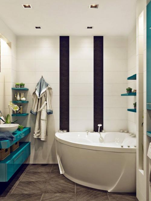 Интерьер ванной комнаты маленького размера. Зонирование