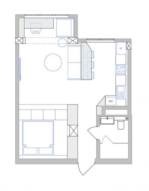Квартиры 45 кв м планировка. Двухкомнатная квартира для одного человека или для семьи