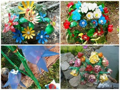 Как сделать листья из пластиковых бутылок. Как сделать цветы из пластиковых бутылок